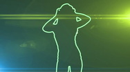 Ser-26 - neon outlined gogo dancer silhouette in green with lens flares Stock Footage