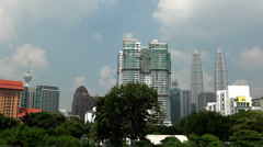 View of Petronas Twin Towers in Kuala Lumpur, Malaysia, Skysrapers, Highest Twin Stock Footage