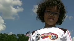 Smiling Young American Kid With Flag Stock Footage