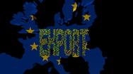 Export text made of containers EU map flag on animation Stock Footage