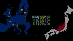 Trade with EU and Japan map flags animation Stock Footage