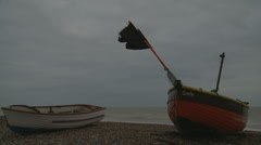 Two fishing boats at the English seaside (winter time) Stock Footage