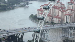 Ferris Wheel Touristic Attraction, Aerial View Singapore Flyer Skyline Cityscape Stock Footage