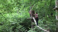 Walk on a suspension bridge  Stock Footage