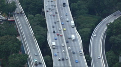 Aerial View Singapore Skyline Highway Freeway Interchange in Downtown, Rush Hour Stock Footage