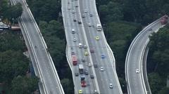 Aerial View Singapore Highway Freeway, Travellers Cars, City Motorway Lanes Turn Stock Footage
