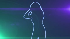 Ser-27 - neon outlined gogo dancer silhouette in blue wiht lens flares Stock Footage
