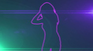 Ser-27 - neon outlined gogo dancer silhouette in pink with lens flares Stock Footage