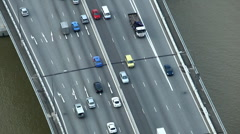 Cars commuting Driving Incoming Outgoing, Aerial View Singapore Highway Freeway Stock Footage