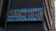 Stock Video Footage of National Debt NYC Sign
