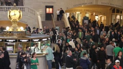 Grand Central Terminal St Patricks Day Stock Footage
