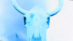 Inverse Cow Skull with Flames and Fire - Clip 1 Stock Footage
