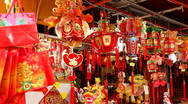 Stock Video Footage of Chinese New Year's Eve in Singapore, Shop Selling Red Decorations, Red Lanterns