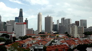 Stock Video Footage of Aerial View of Singapore, Bird Eye View of Chinatown, Skyscrapers, Holiday