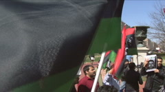 Libyan democracy protesters - stock footage
