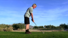 Angry golfer hits bad drive V1 - HD - stock footage