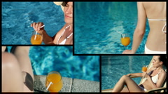 Montage of attractive sexy woman drinking exotic drink in the summer time Stock Footage