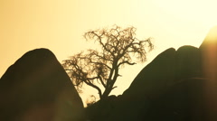 Time Lapse of Sun Setting Behind Rocks - stock footage