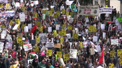 Massive crowd protesting in Los Angeles - stock footage