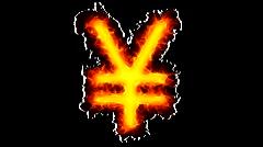 Yen on fire - stock footage