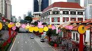 Stock Video Footage of Aerial View of Singapore, Bird Eye View of China Town, Skyscrapers, Holiday