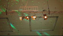 Ceiling with disco lights movement Stock Footage