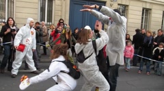 Anti-Nuclear Demonstration Clowns 2, Paris, France Stock Footage