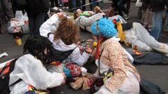 Anti-Nuclear Demonstration Clowns  Stock Footage