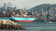 Stock Video Footage of Cargo ship leaves Hong Kong port