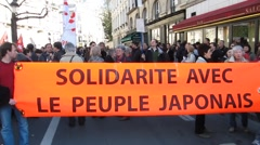 Anti-Nuclear Demonstration, French Banner Solidarity Stock Footage
