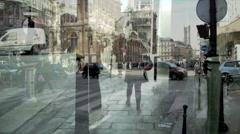 Street double exposure 3. Stock Footage