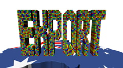 Export text with ships and Australia map flag animation Stock Footage