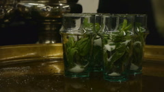 HD1080p25 Moroccan mint green tea being served. Stock Footage