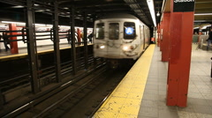 Subway train arriving NYC Stock Footage