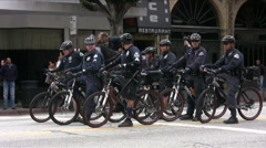 Team of bicycle police Stock Footage