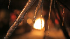 Fire-place through icicles Stock Footage