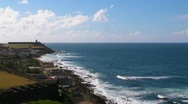 Puerto Rico - Old San Juan Oceanfront - El Morro Fortress in background Stock Footage