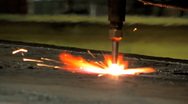 Stock Video Footage of Torch cutting weld 1 Plasma