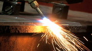 Stock Video Footage of Torch Cutting Steel