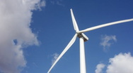 Stock Video Footage of Wind Turbine with Clouds