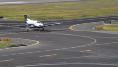 Small Aircraft Taxis on Runway Stock Footage