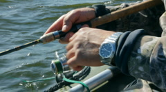 Fishing with spinning - close-up Stock Footage