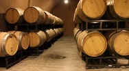 Stock Video Footage of Wine Barrels in Cave 5460