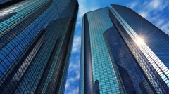 Modern reflective office skyscrapers Stock Footage