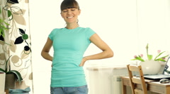 Happy woman cleaning table - stock footage