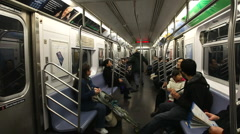 Inside a Subway train - stock footage