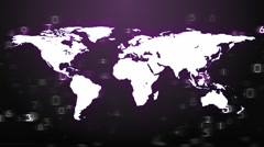 WORLD MAP BROADCAST  PURPLE - stock footage