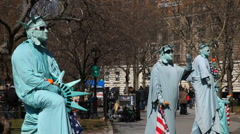 Statue of liberty actors - stock footage