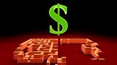 Dollar symbol and maze Stock Footage