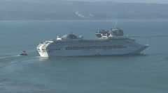 Cruiseship leaving port Stock Footage
